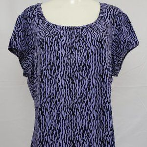 Worthington Top size 1X Purple Short Sleeve